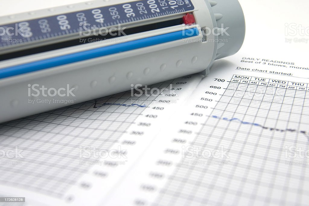 Peakflow Meter and Chart stock photo