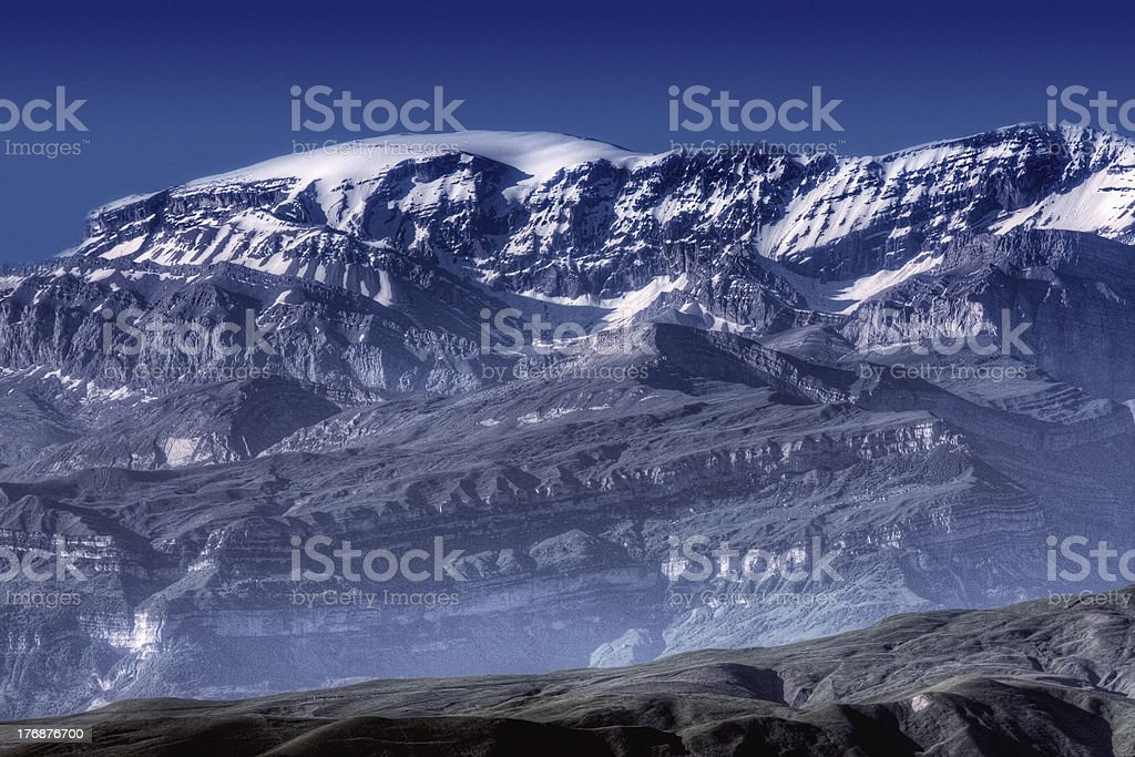 Peaks covered with snow stock photo
