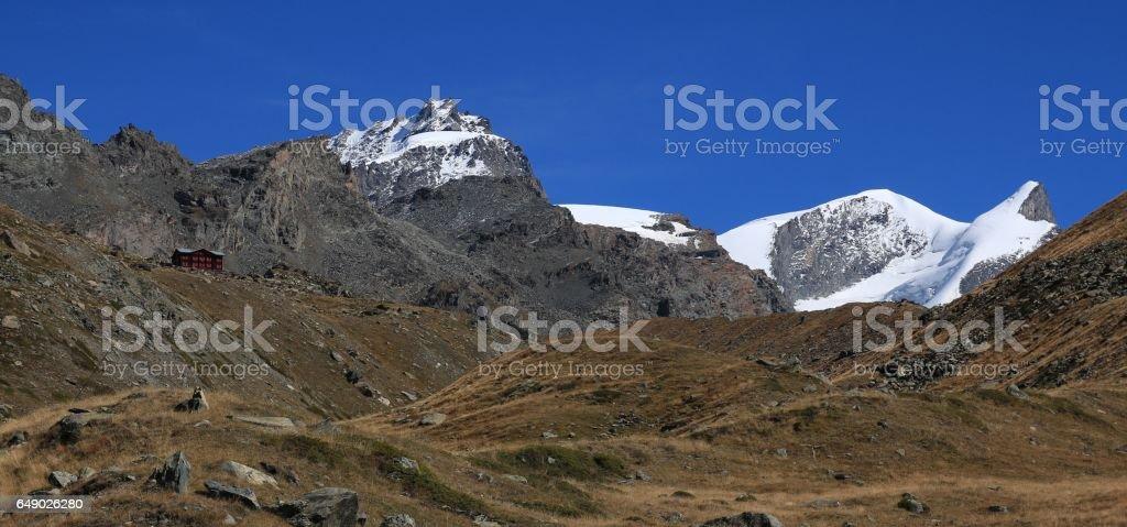 Peaks of mount Strahlhorn and Adlerhorn stock photo