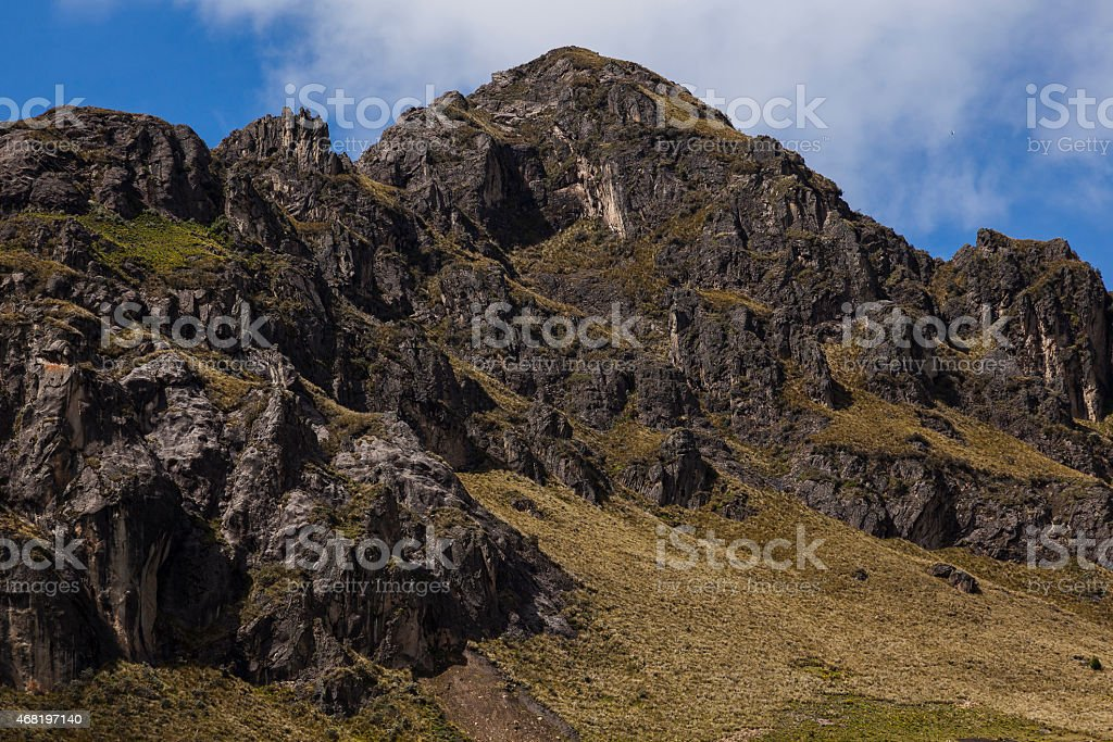 Peaks of rock and moor near Zumbahua stock photo