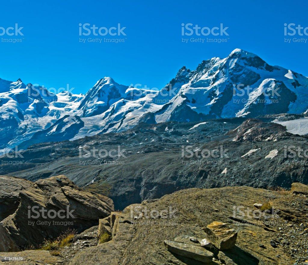 Peaks of the Pennine Alps near Zermatt stock photo