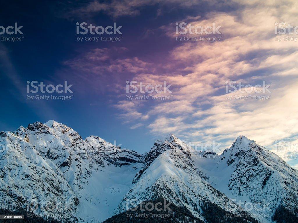 Peaks of the Sesvenna mountain group, Swiss Alps, Engadine, Switzerland stock photo