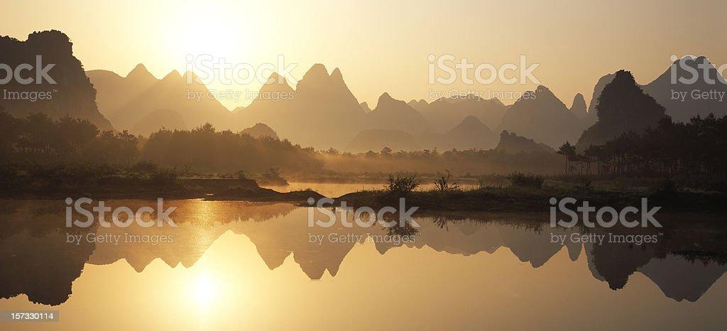 Peaks reflections stock photo