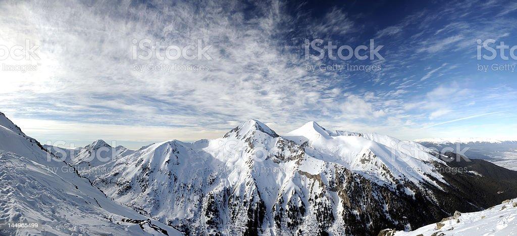 Peaks Vihren and Kutelo in Pirin mountain stock photo