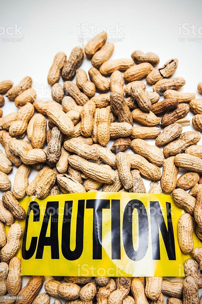 Peanut Allergy Caution stock photo