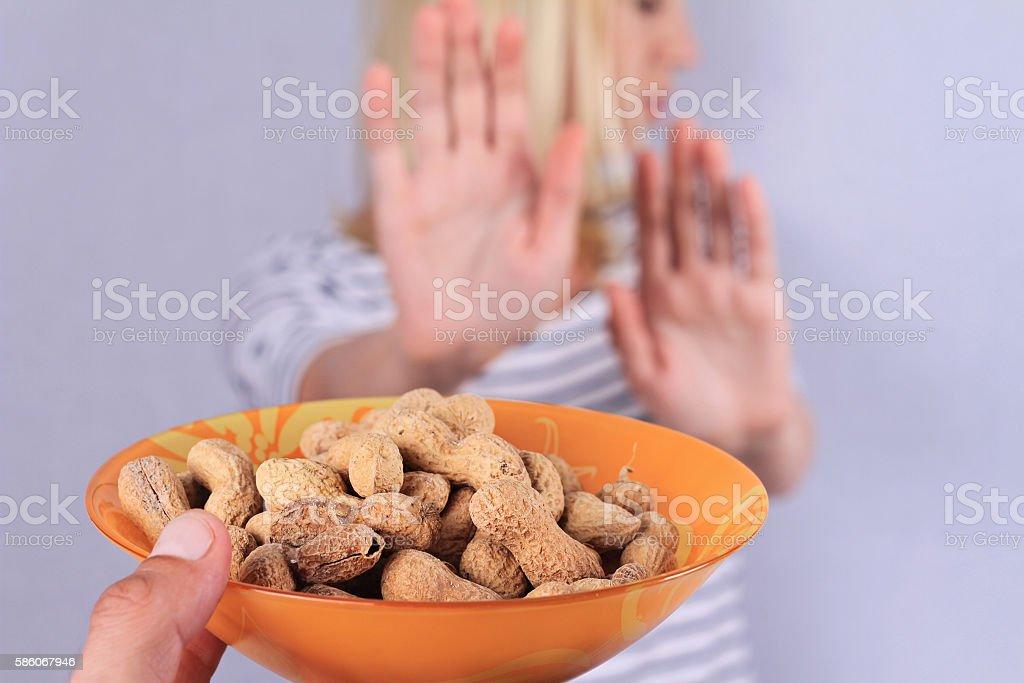 Peanut allergy concept stock photo