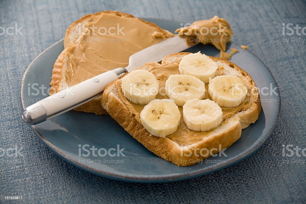 Peanut Butter and Banana Sandwich stock photo