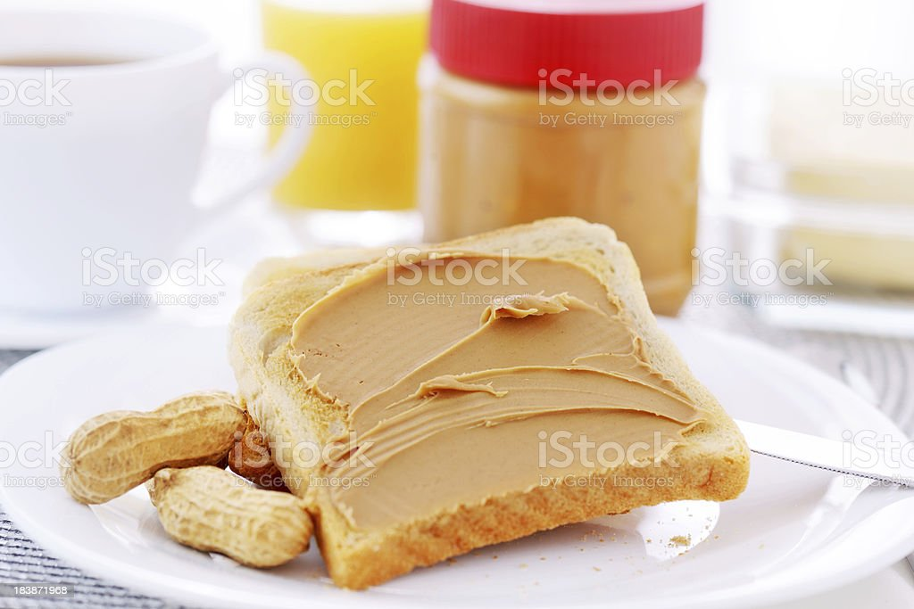 Peanut butter and bread royalty-free stock photo