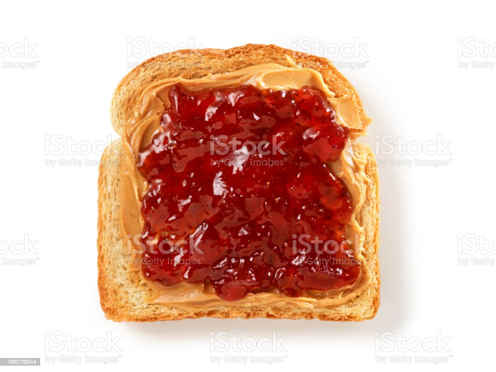 Peanut Butter and Jam on Toast stock photo