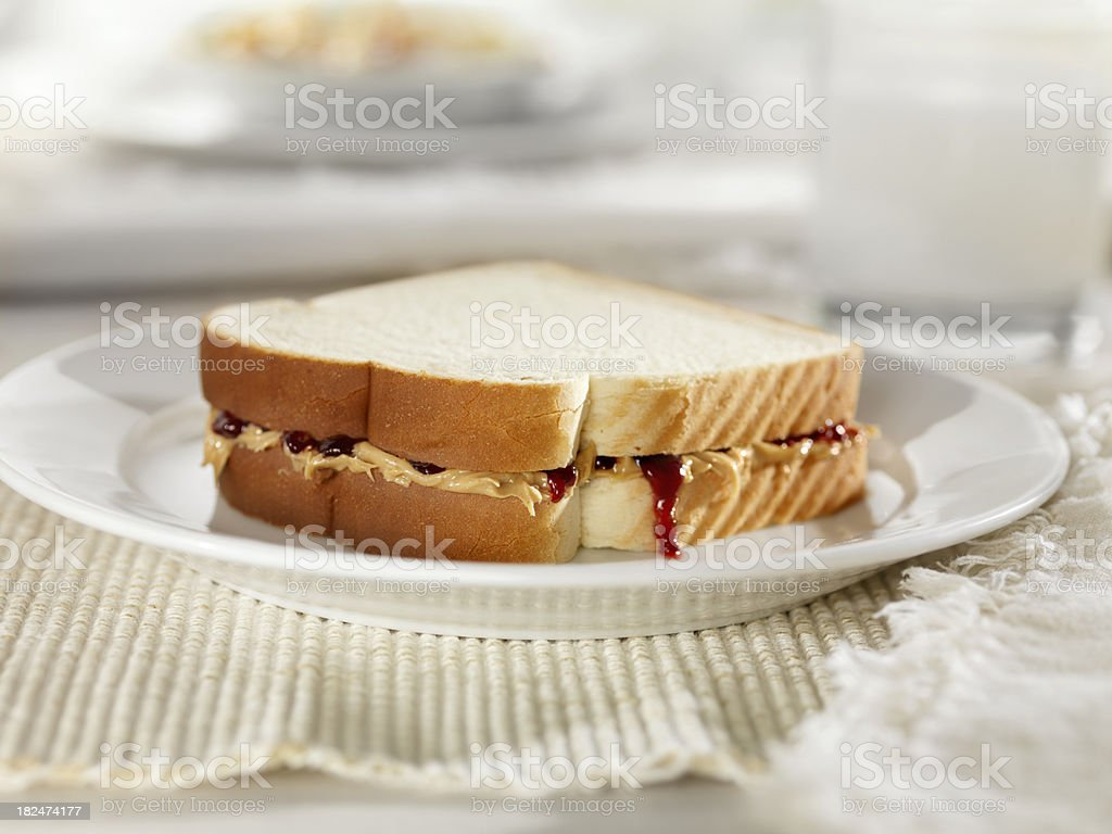 Peanut Butter and Jam Sandwich royalty-free stock photo