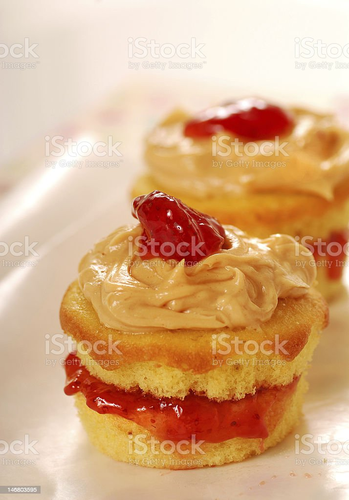 Peanut butter and jelly cupcakes royalty-free stock photo