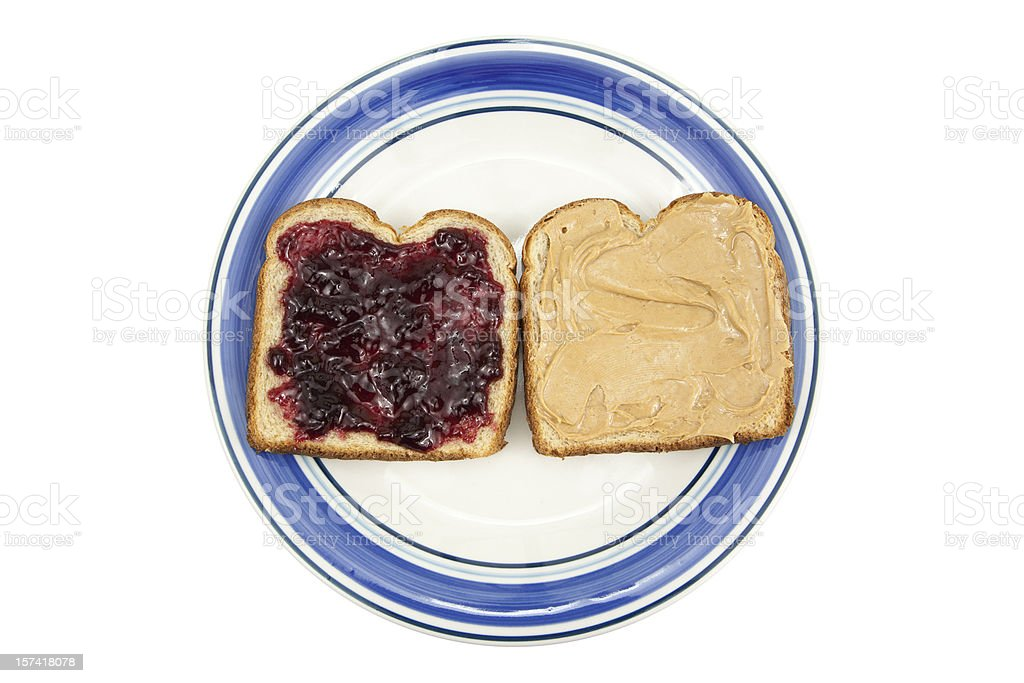 Peanut Butter and Jelly on Plate royalty-free stock photo