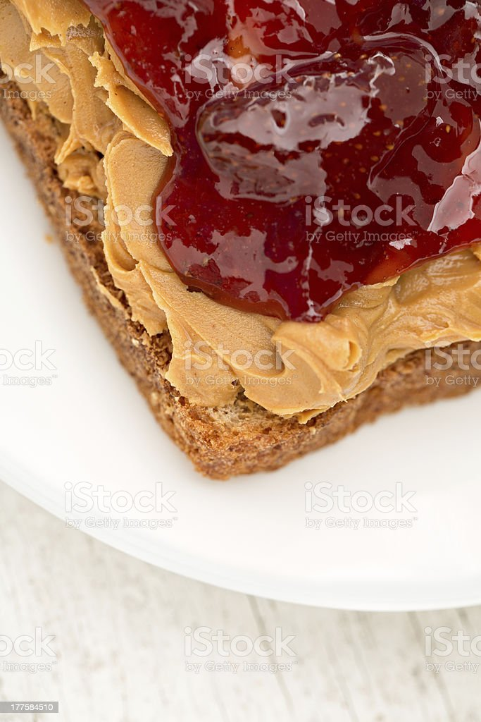 Peanut Butter And Jelly open Face Sandwich royalty-free stock photo