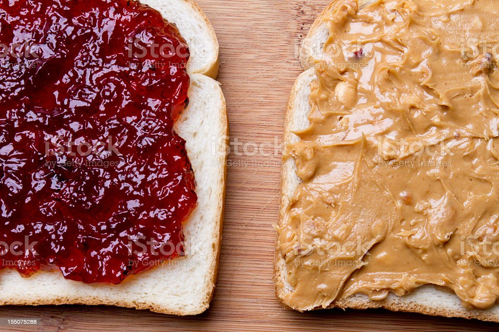 Peanut Butter and Jelly Sandwich Fancy Lunch stock photo