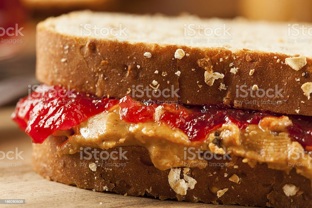 Peanut butter and jelly whole meal sandwich stock photo
