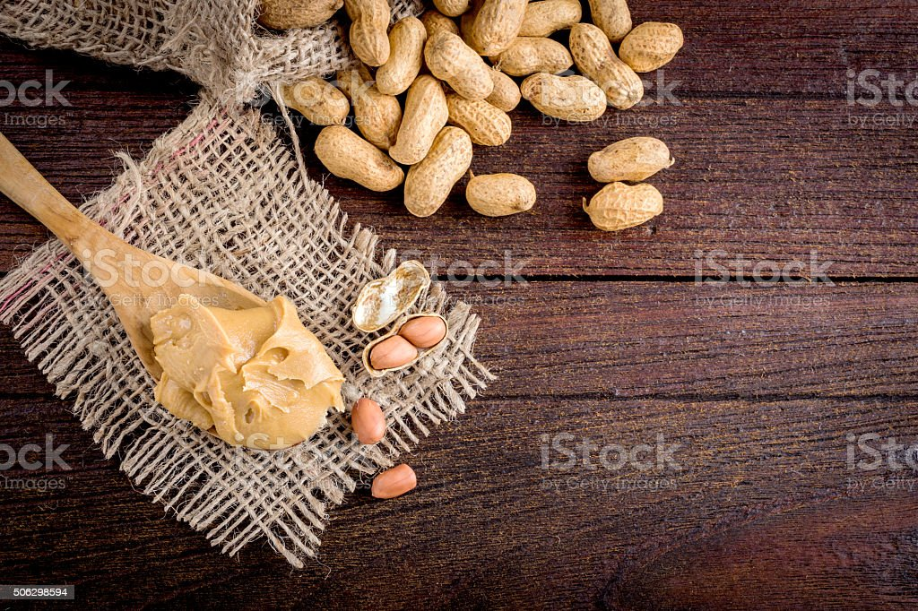 peanut butter and peanuts stock photo