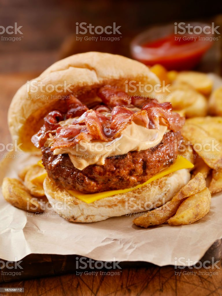 Peanut Butter Bacon Burger royalty-free stock photo