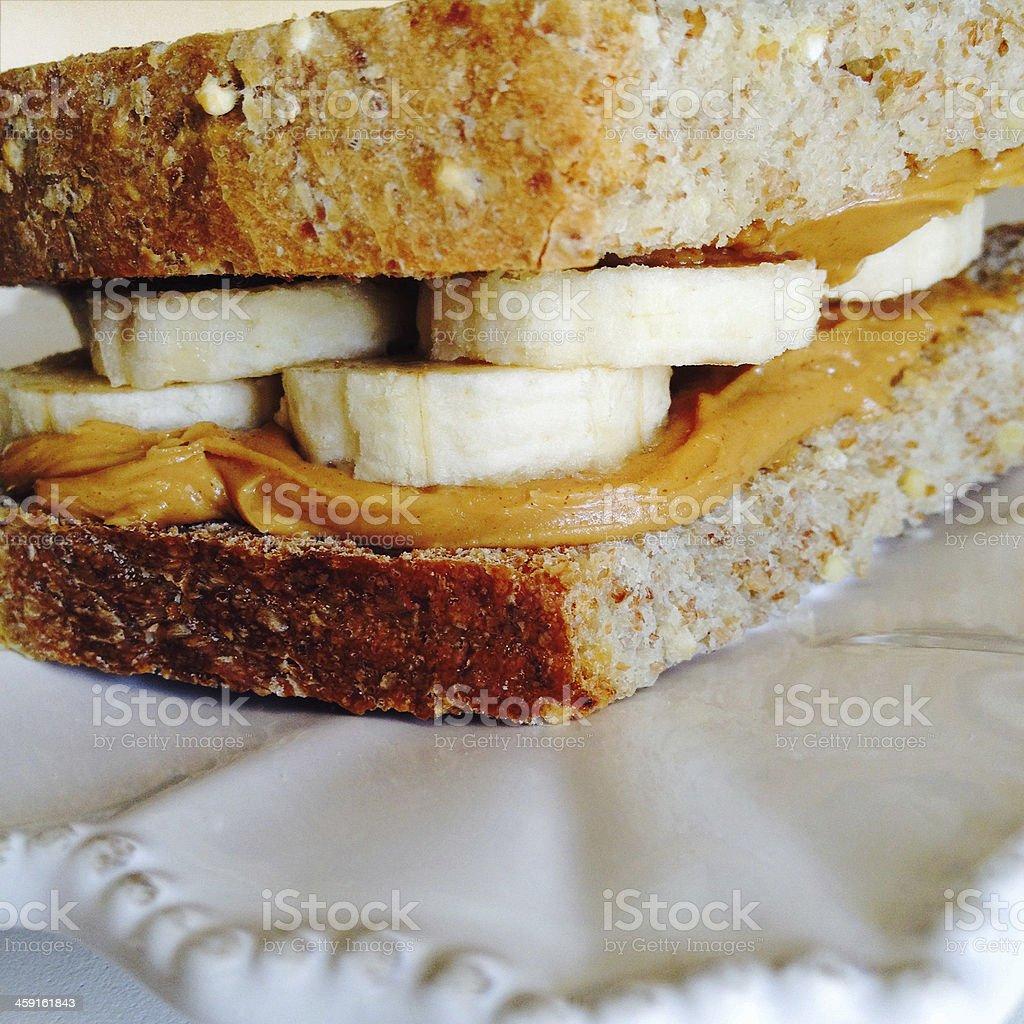 Peanut Butter Banana Sandwich stock photo