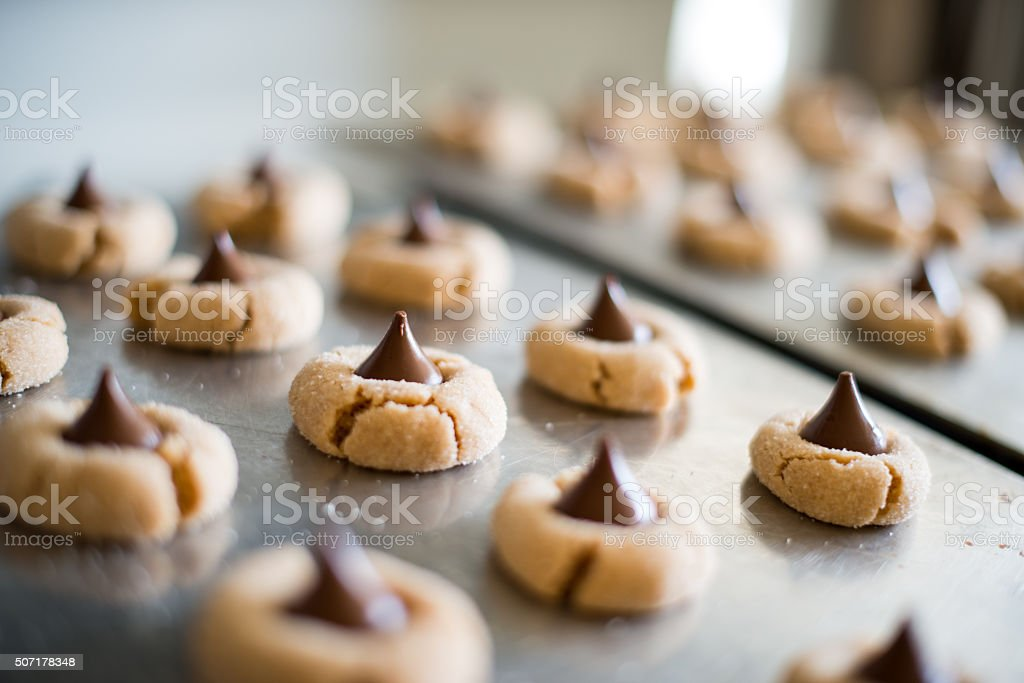 Peanut Butter Blossom Cookies stock photo