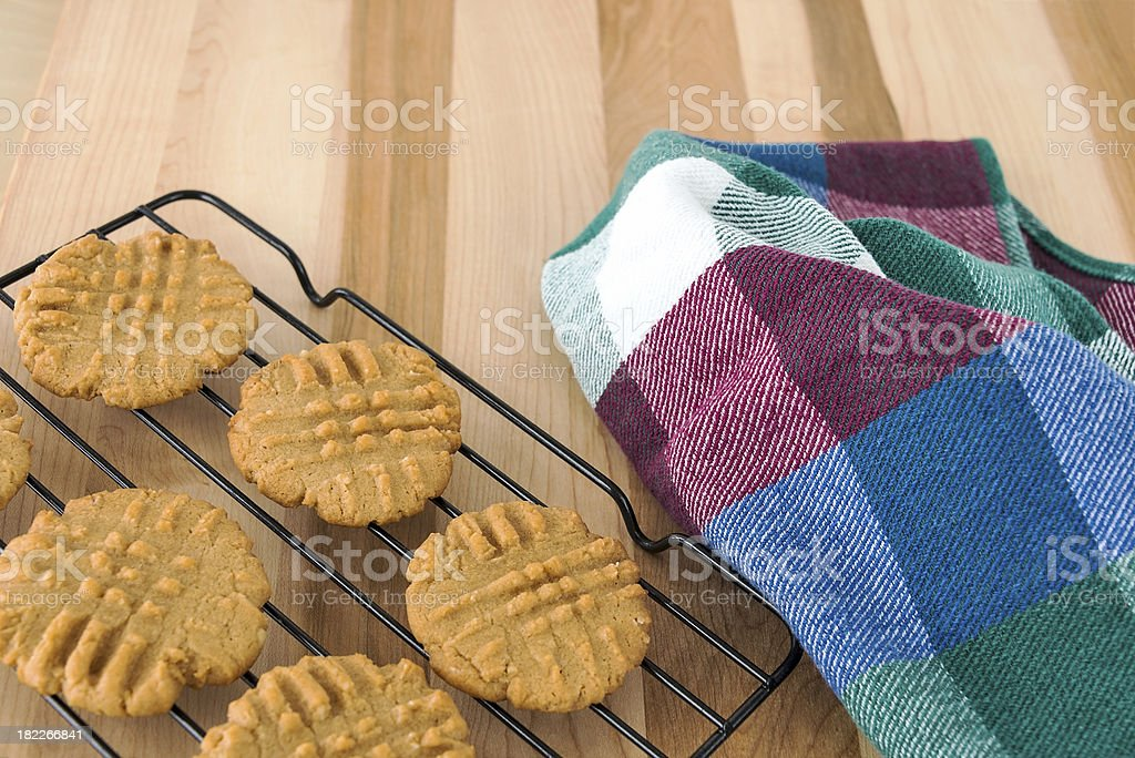 Peanut butter cookies cooling on rack royalty-free stock photo