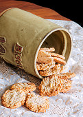 Peanut butter cookies in antique English cookie jar.