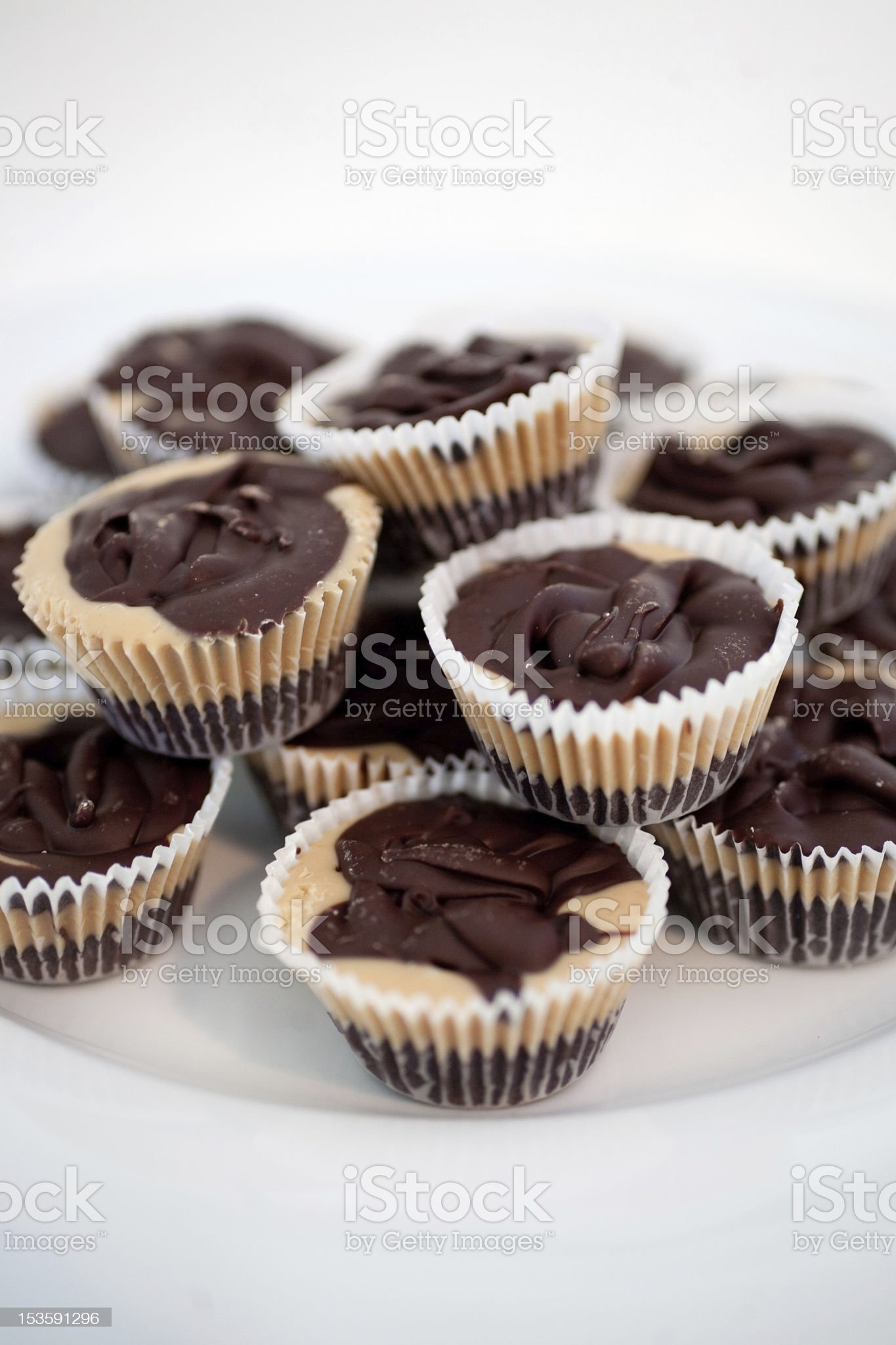 Peanut Butter Cups on White Plate. royalty-free stock photo