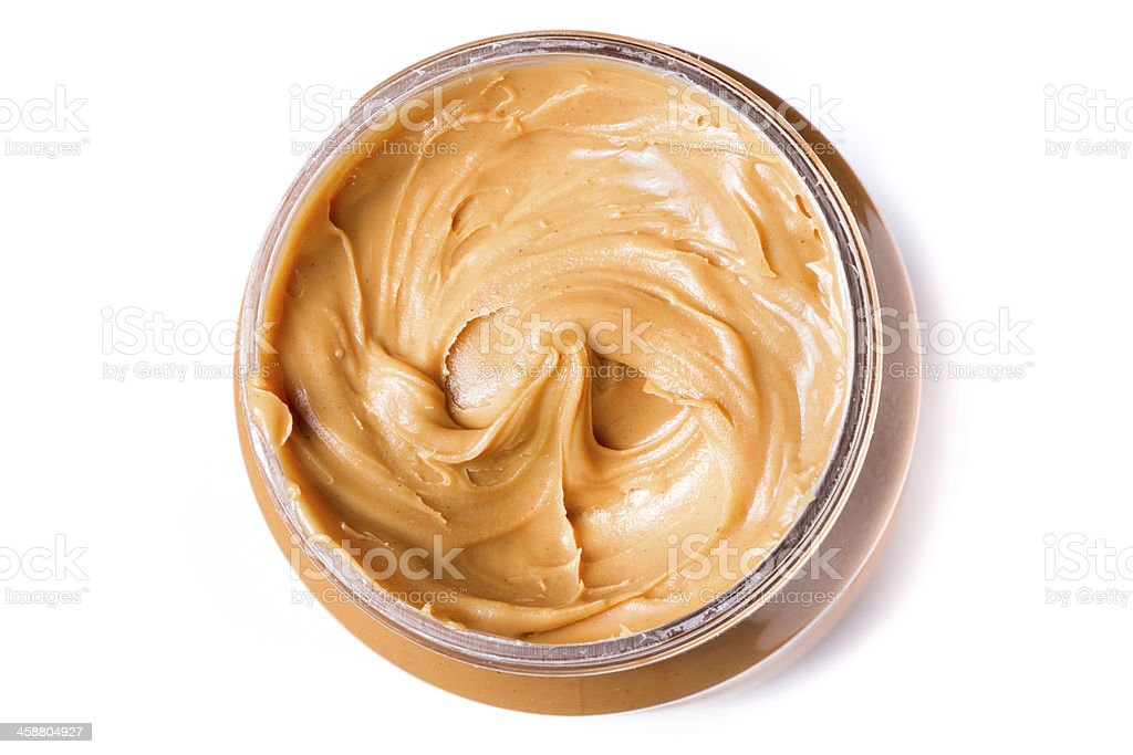 Peanut Butter in an Open Jar stock photo