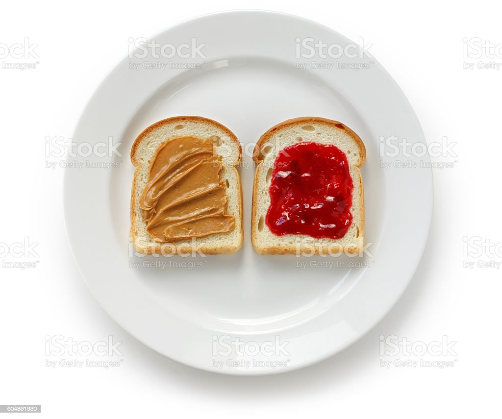 peanut butter & jelly sandwich stock photo