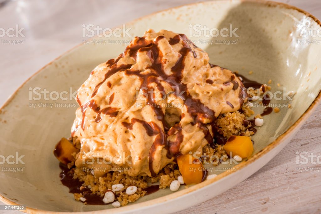 Peanut butter mousse stock photo