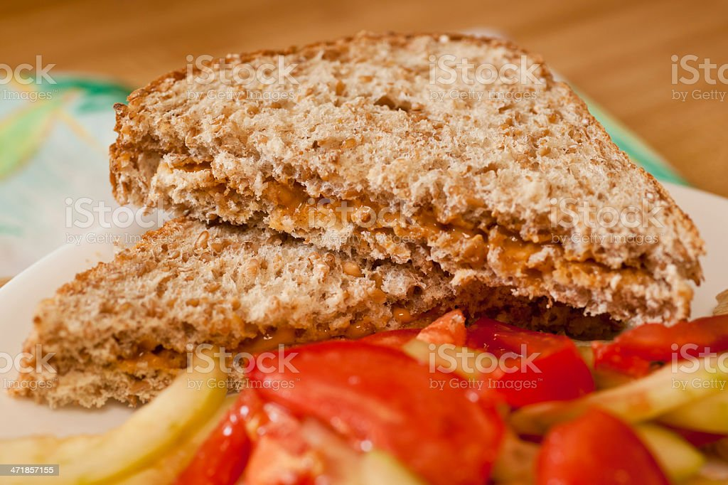 Peanut Butter Sandwich and Salad royalty-free stock photo