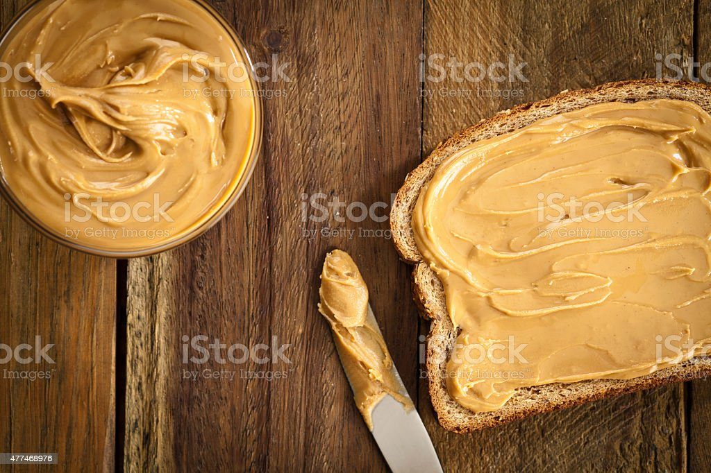 Peanut butter sandwich stock photo