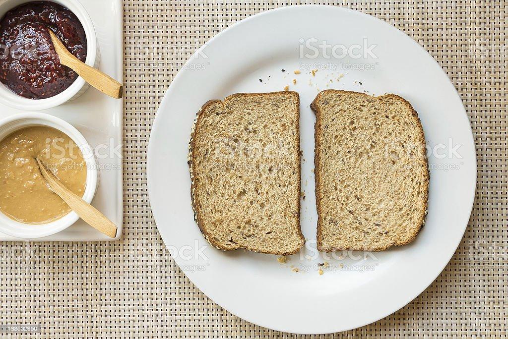 Peanut butter sandwich step 1 royalty-free stock photo