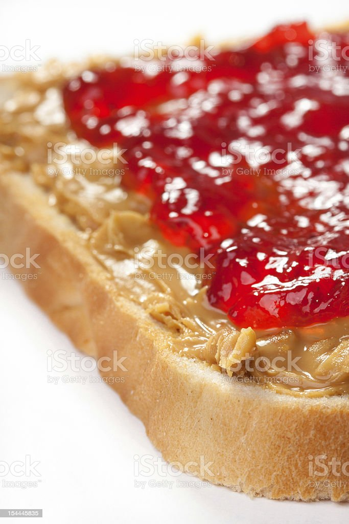 peanut butter with strawberry jam stock photo