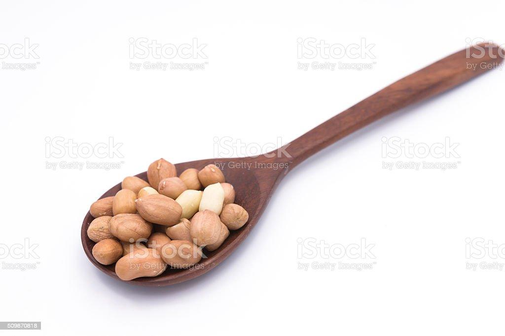 Peanut in Gunny Bag on white background stock photo