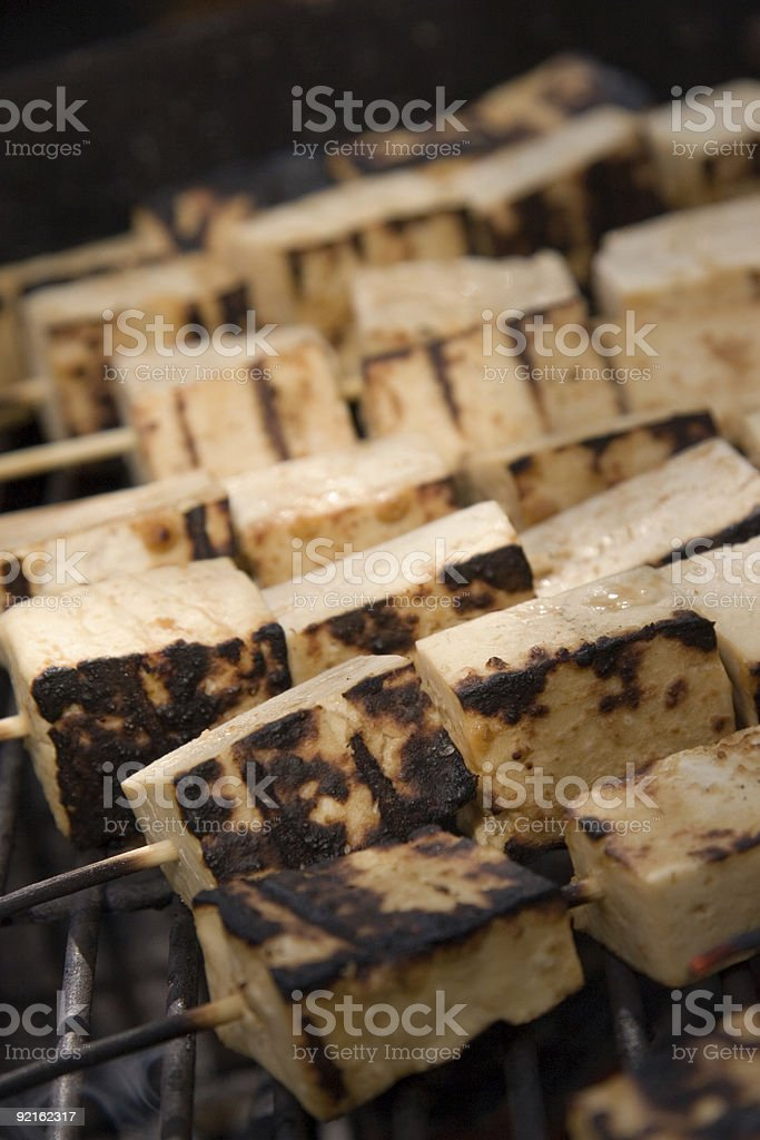 Peanut Tofu Skewers on Grill royalty-free stock photo