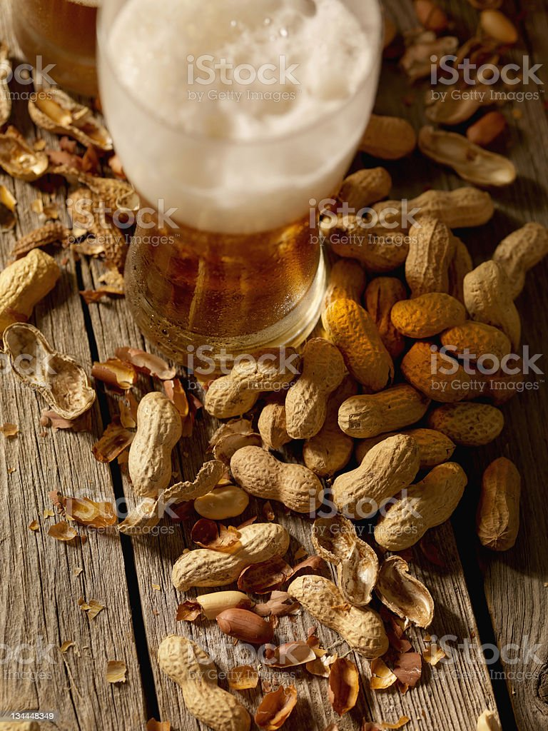 Peanuts and a Beer From Above royalty-free stock photo