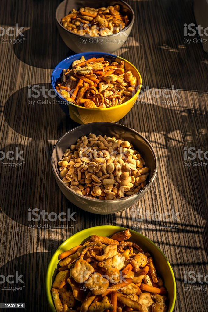Peanuts and  snacks for party stock photo