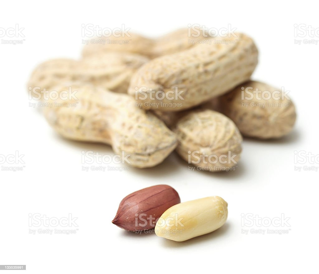 Peanuts focused in white background stock photo