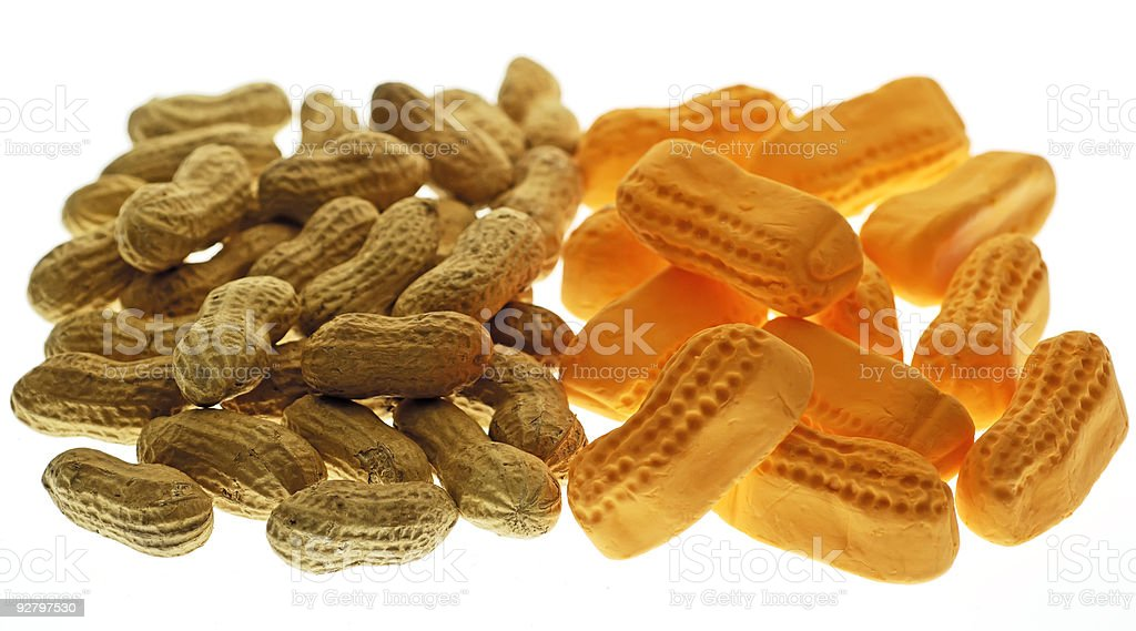 Peanuts in Two Varieties stock photo