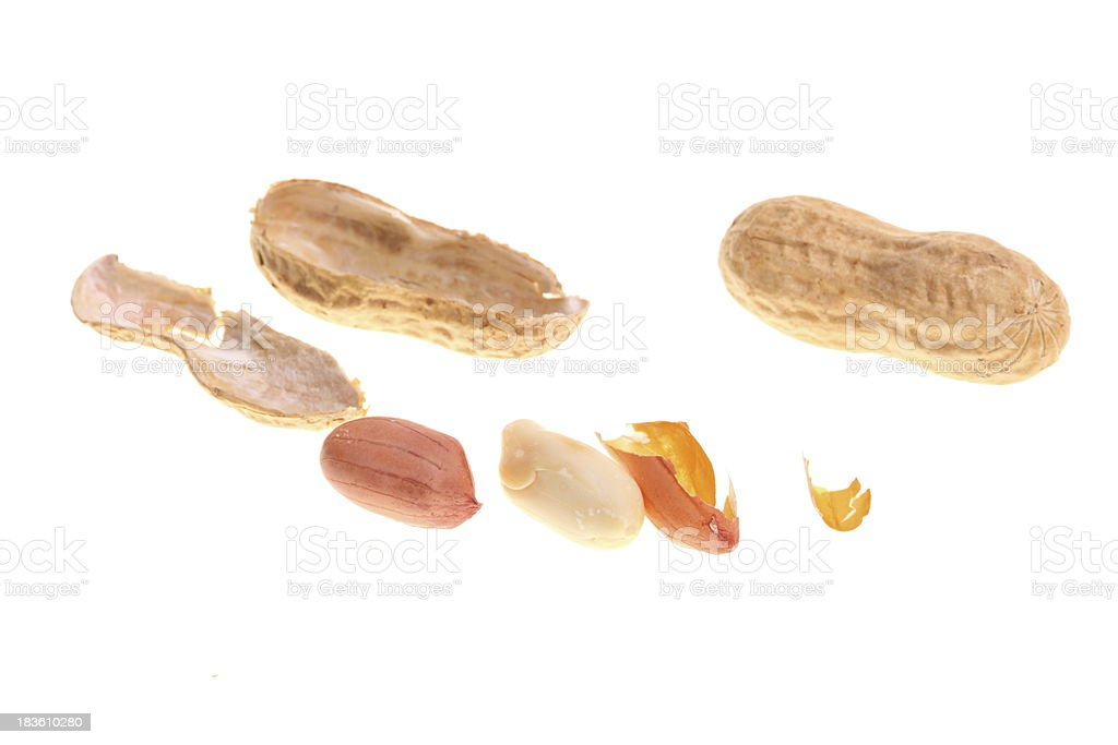 Peanuts isolated on white royalty-free stock photo