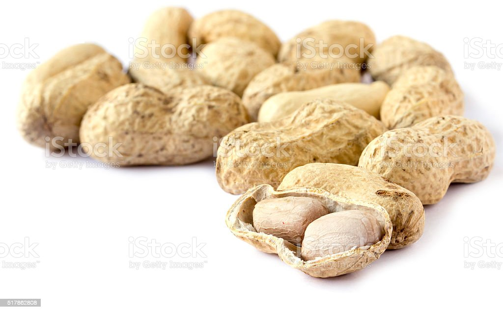 Peanuts on white backgroud stock photo