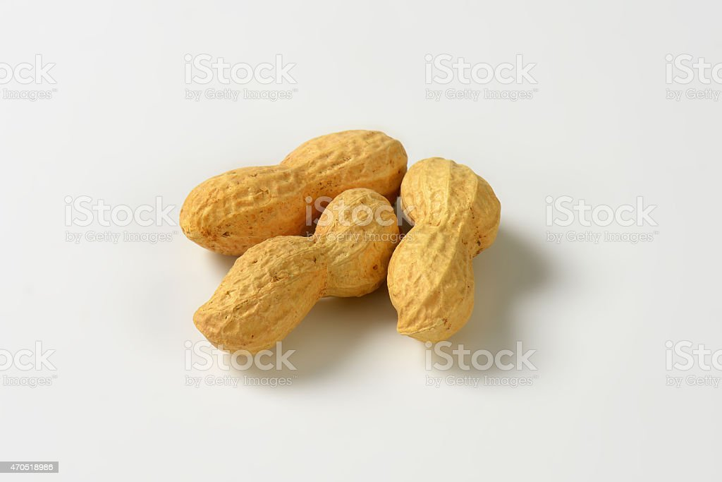 Peanuts on white background stock photo