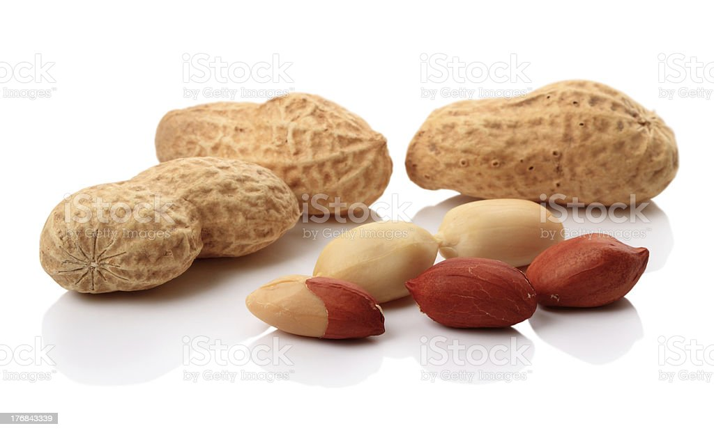 Peanuts on white stock photo