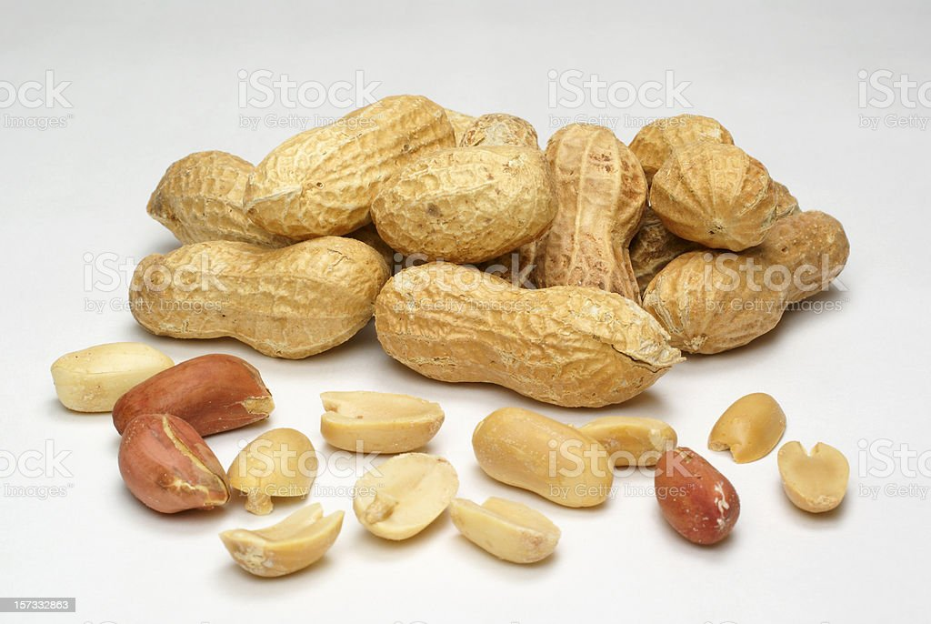 peanuts,shelled and whole royalty-free stock photo