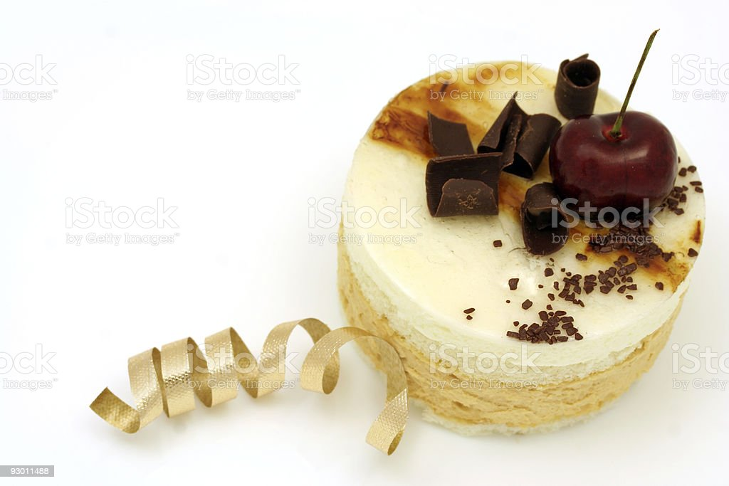 Pear and caramel mousse cake royalty-free stock photo