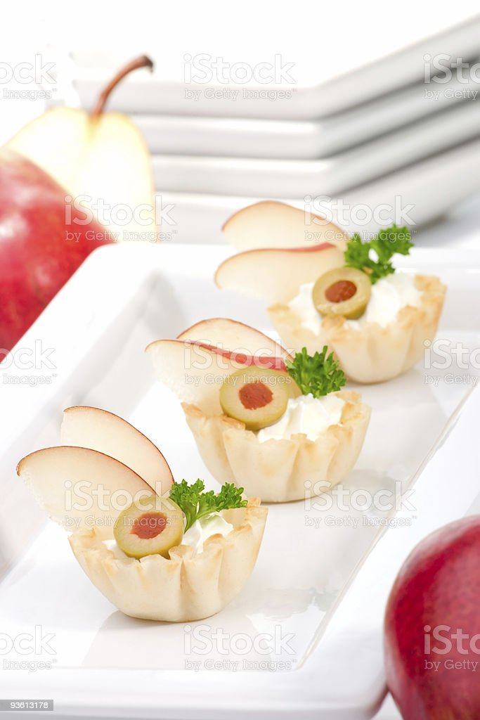 Pear and creamcheese canapes royalty-free stock photo