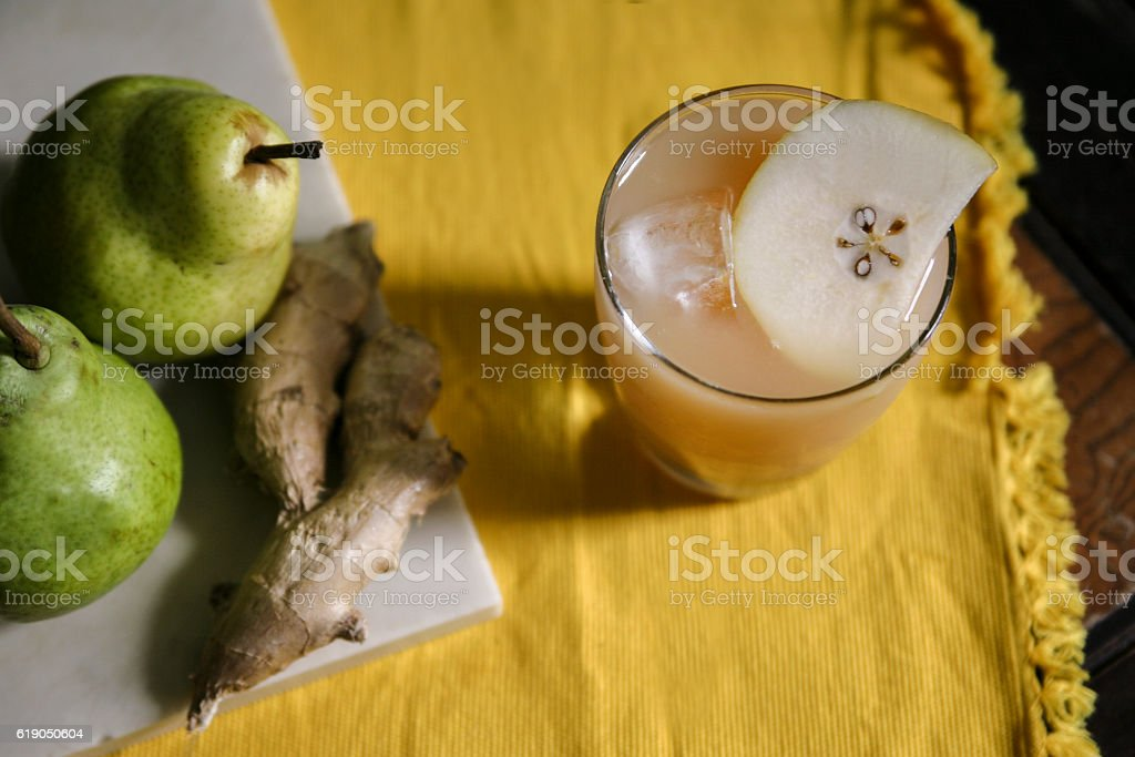 Pear and ginger cocktail stock photo