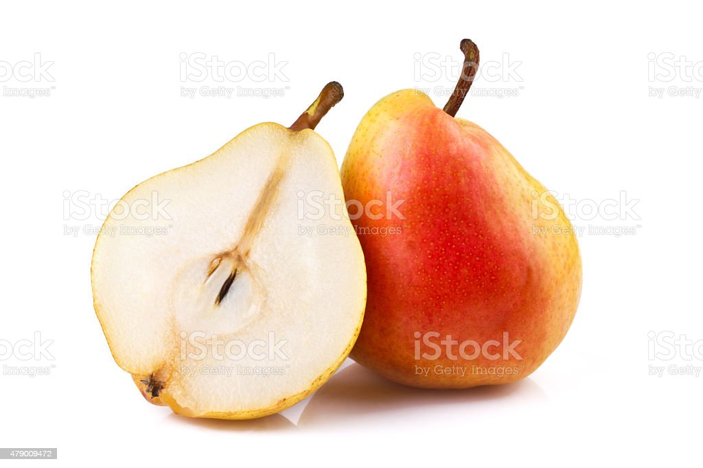 Pear and Half of Fruit isolated on white stock photo