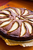 Pear cake with chocolate