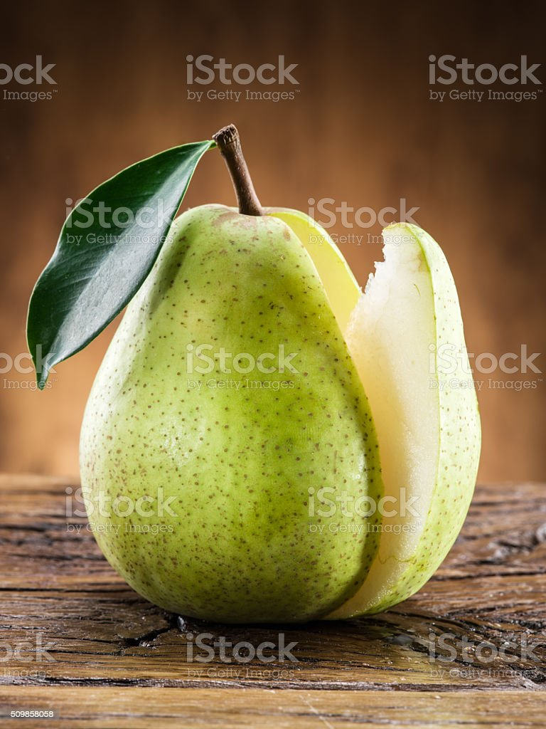 Pear fruit with leaf. stock photo